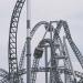 A roller coaster at an amusement park.